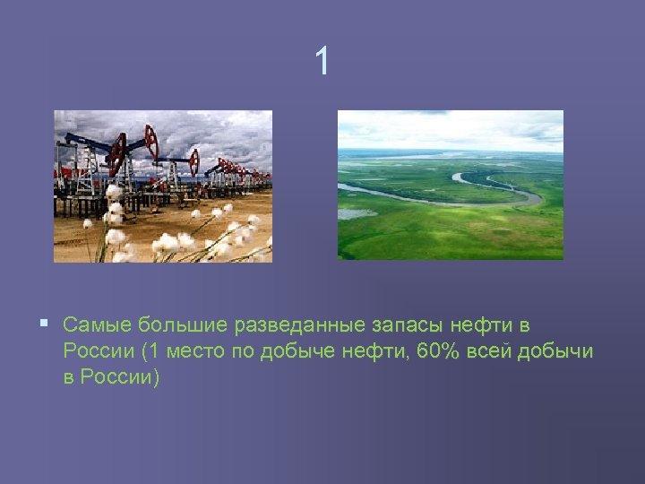 1 § Самые большие разведанные запасы нефти в России (1 место по добыче нефти,