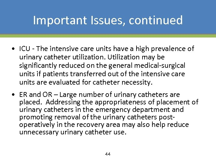 Important Issues, continued • ICU - The intensive care units have a high prevalence