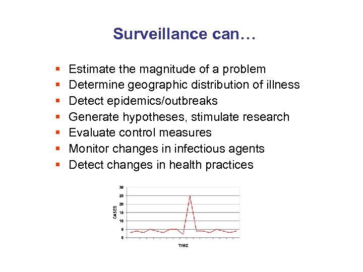 Surveillance can… § § § § Estimate the magnitude of a problem Determine geographic