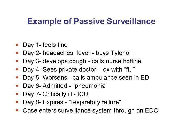 Example of Passive Surveillance § § § § § Day 1 - feels fine