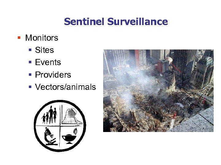 Sentinel Surveillance § Monitors § Sites § Events § Providers § Vectors/animals