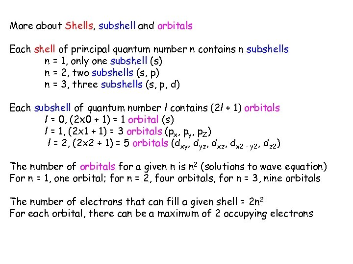 More about Shells, subshell and orbitals Each shell of principal quantum number n contains