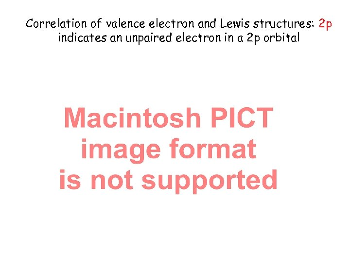Correlation of valence electron and Lewis structures: 2 p indicates an unpaired electron in