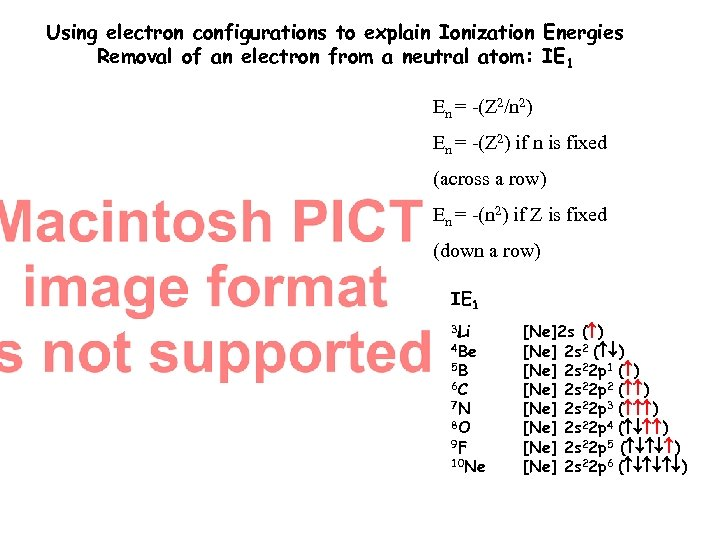 Using electron configurations to explain Ionization Energies Removal of an electron from a neutral