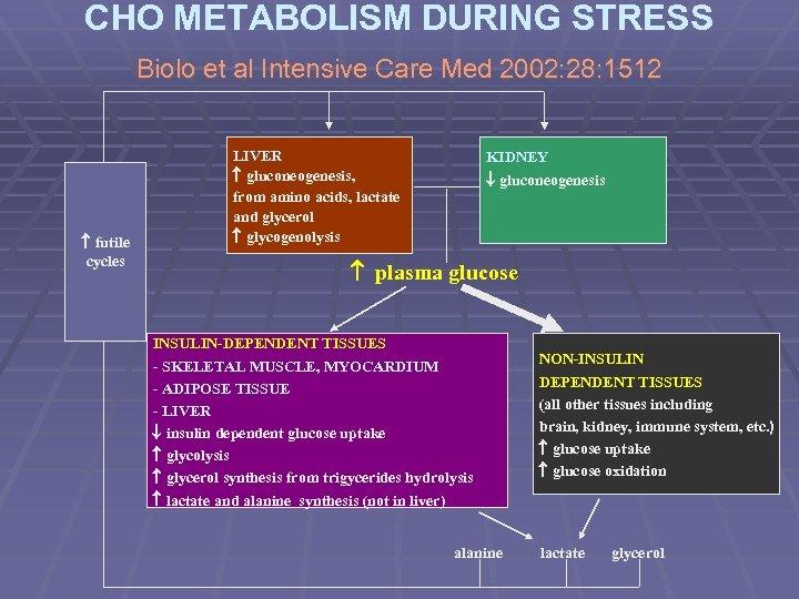 CHO METABOLISM DURING STRESS Biolo et al Intensive Care Med 2002: 28: 1512 futile