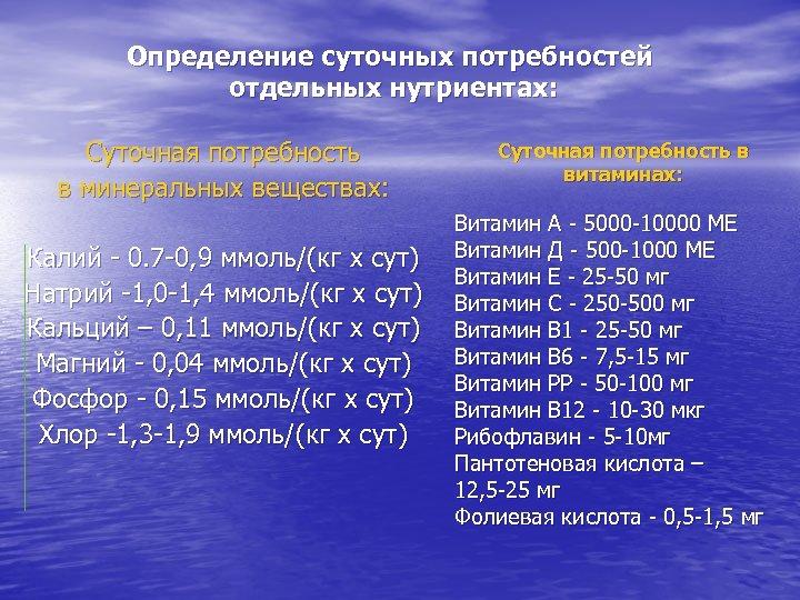 Определение суточных потребностей отдельных нутриентах: Суточная потребность в минеральных веществах: Калий - 0. 7
