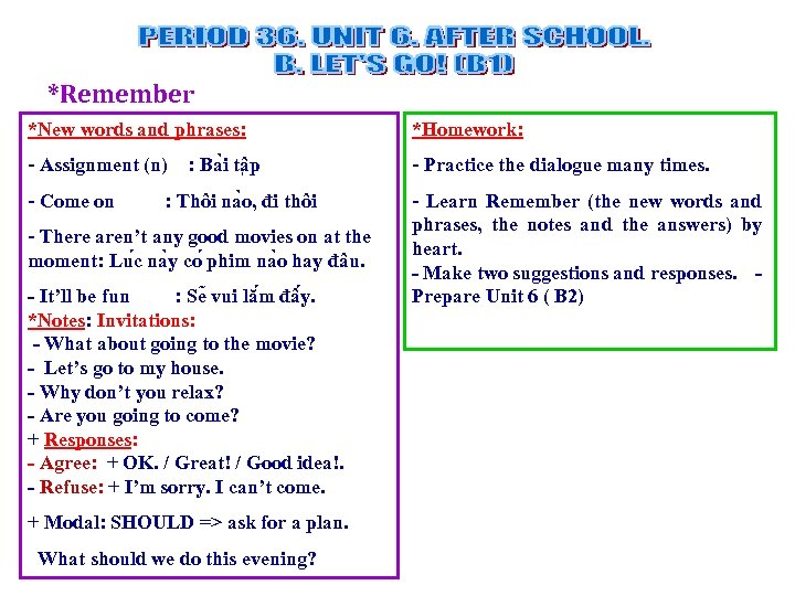 *Remember *New words and phrases: *Homework: - Assignment (n) : Ba i tâ p