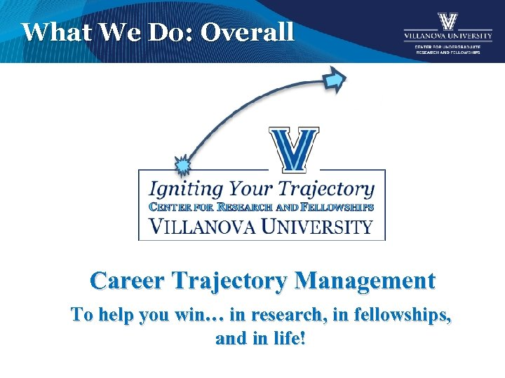 What We Do: Overall Career Trajectory Management To help you win… in research, in
