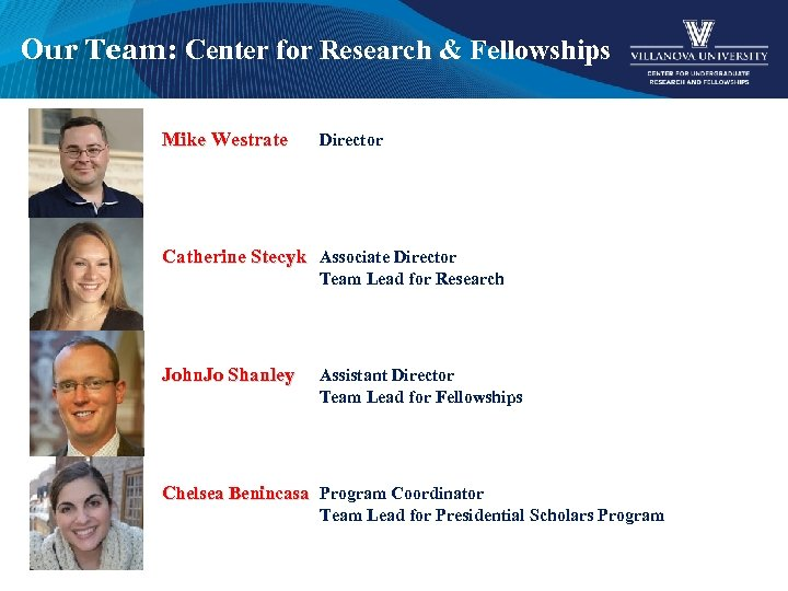 Our Team: Center for Research & Fellowships Mike Westrate Director Catherine Stecyk Associate Director