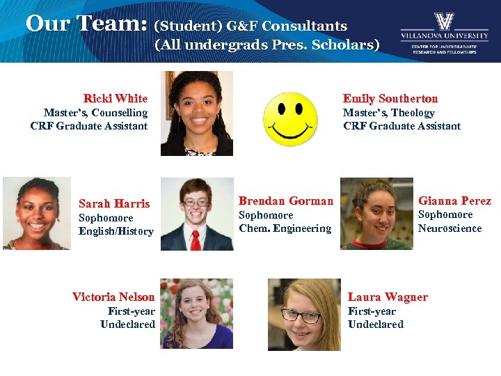 Our Team: (Student) G&F Consultants (All undergrads Pres. Scholars) Ricki White Emily Southerton Master's,