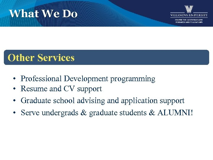 What We Do Other Services • • Professional Development programming Resume and CV support