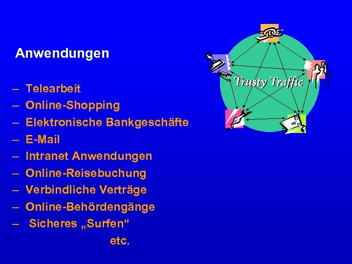 Anwendungen – – – – – Telearbeit Online-Shopping Elektronische Bankgeschäfte E-Mail Intranet Anwendungen Online-Reisebuchung
