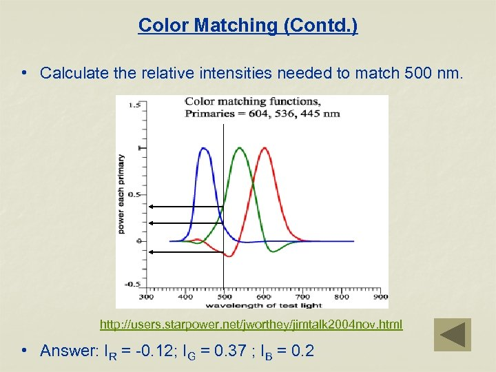 Color Matching (Contd. ) • Calculate the relative intensities needed to match 500 nm.