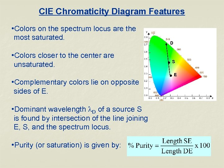 CIE Chromaticity Diagram Features • Colors on the spectrum locus are the most saturated.