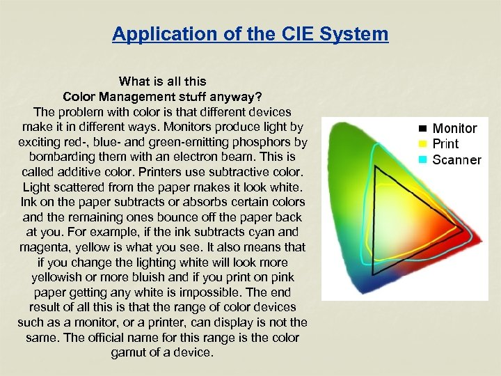 Application of the CIE System What is all this Color Management stuff anyway? The