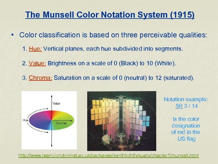 The Munsell Color Notation System (1915) • Color classification is based on three perceivable