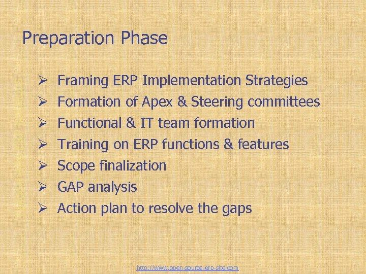 Tailor-made ERP solutions Preparation Phase Ø Ø Ø Ø Framing ERP Implementation Strategies Formation