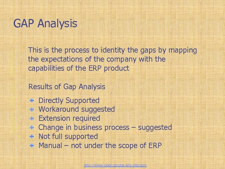 Tailor-made ERP solutions GAP Analysis This is the process to identity the gaps by