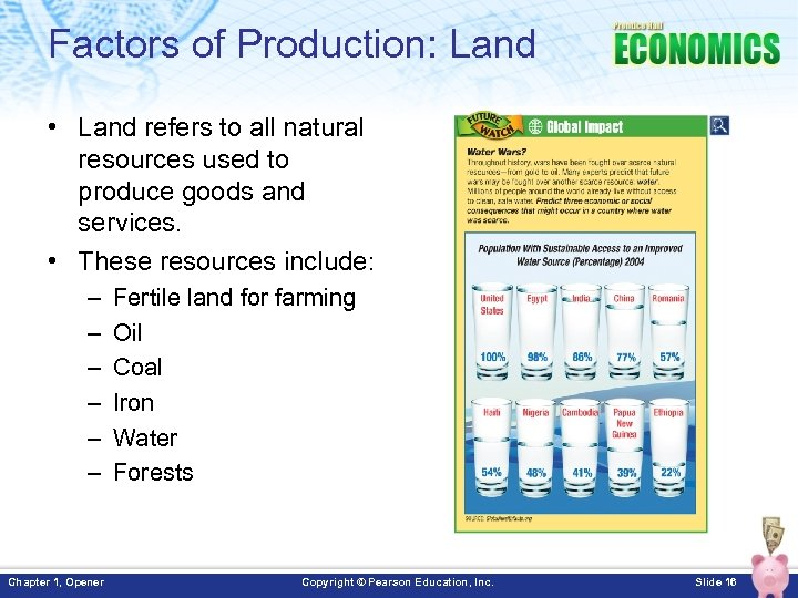 Factors of Production: Land • Land refers to all natural resources used to produce