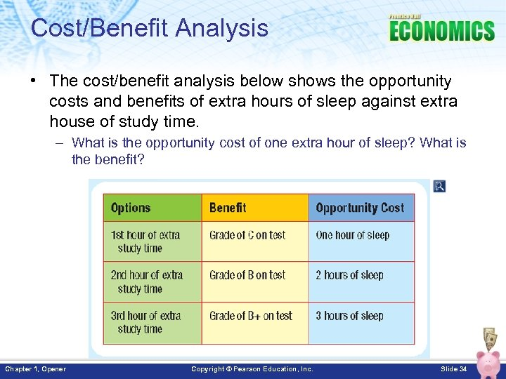 Cost/Benefit Analysis • The cost/benefit analysis below shows the opportunity costs and benefits of