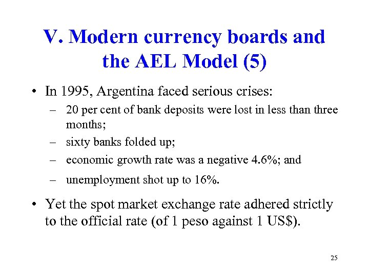 V. Modern currency boards and the AEL Model (5) • In 1995, Argentina faced