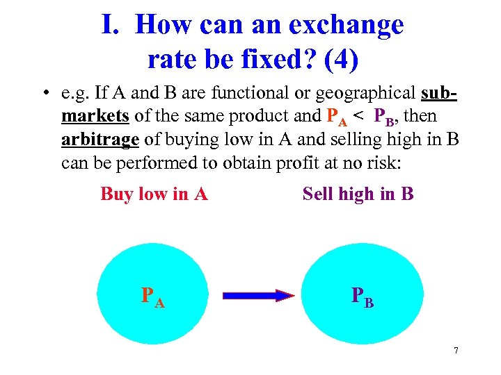 I. How can an exchange rate be fixed? (4) • e. g. If A