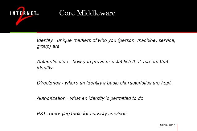 Core Middleware Identity - unique markers of who you (person, machine, service, group) are