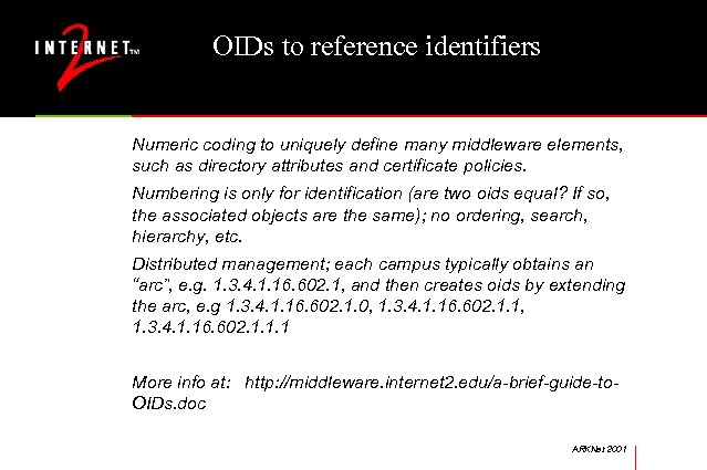 OIDs to reference identifiers Numeric coding to uniquely define many middleware elements, such as
