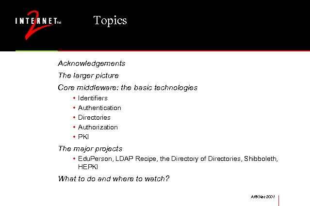 Topics Acknowledgements The larger picture Core middleware: the basic technologies • • • Identifiers
