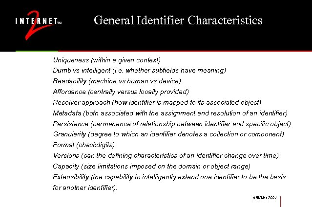 General Identifier Characteristics Uniqueness (within a given context) Dumb vs intelligent (i. e. whether