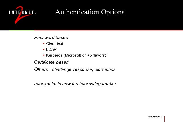 Authentication Options Password based • Clear text • LDAP • Kerberos (Microsoft or K