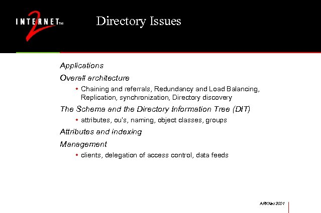 Directory Issues Applications Overall architecture • Chaining and referrals, Redundancy and Load Balancing, Replication,