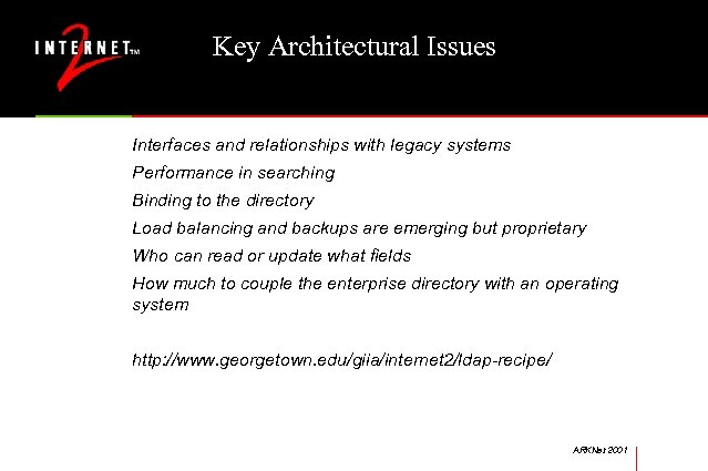 Key Architectural Issues Interfaces and relationships with legacy systems Performance in searching Binding to