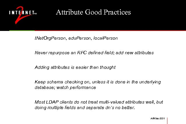 Attribute Good Practices INet. Org. Person, edu. Person, local. Person Never repurpose an RFC