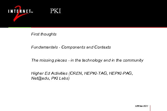 PKI First thoughts Fundamentals - Components and Contexts The missing pieces - in the