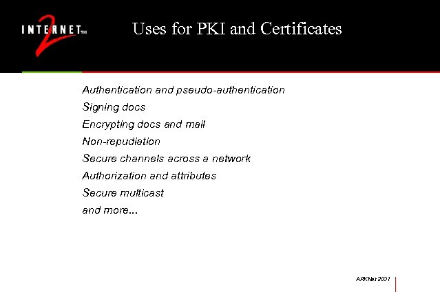 Uses for PKI and Certificates Authentication and pseudo-authentication Signing docs Encrypting docs and mail