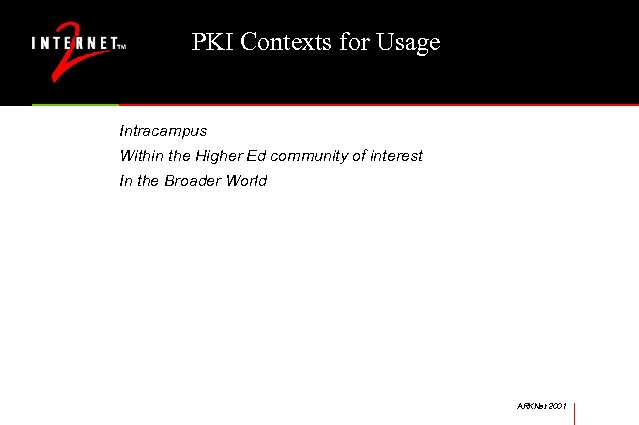 PKI Contexts for Usage Intracampus Within the Higher Ed community of interest In the