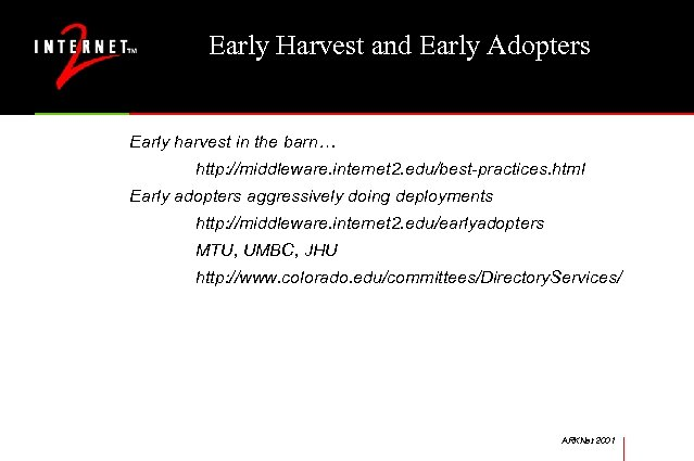 Early Harvest and Early Adopters Early harvest in the barn… http: //middleware. internet 2.