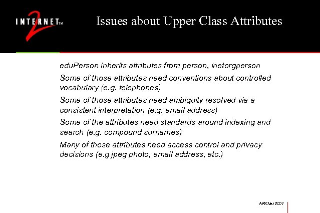 Issues about Upper Class Attributes edu. Person inherits attributes from person, inetorgperson Some of