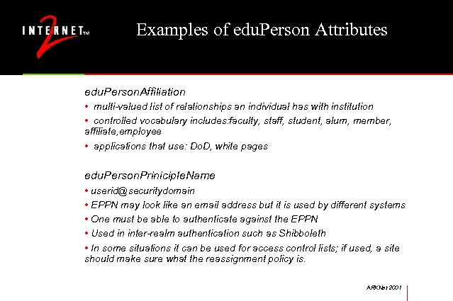 Examples of edu. Person Attributes edu. Person. Affiliation • multi-valued list of relationships an
