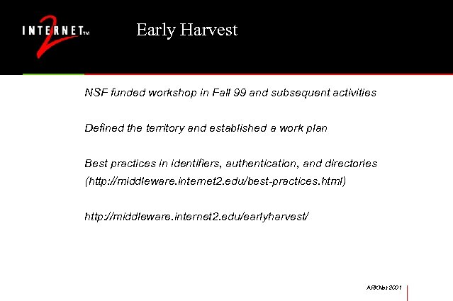 Early Harvest NSF funded workshop in Fall 99 and subsequent activities Defined the territory