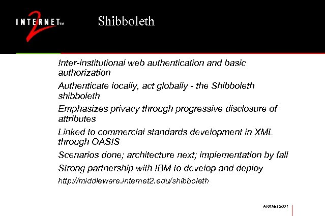 Shibboleth Inter-institutional web authentication and basic authorization Authenticate locally, act globally - the Shibboleth