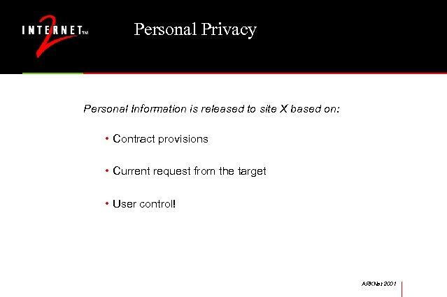 Personal Privacy Personal Information is released to site X based on: • Contract provisions