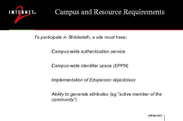 Campus and Resource Requirements To participate in Shibboleth, a site must have: Campus-wide authentication