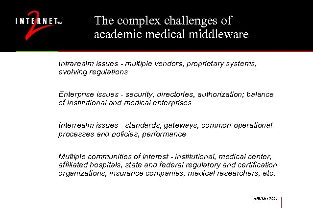 The complex challenges of academic medical middleware Intrarealm issues - multiple vendors, proprietary systems,