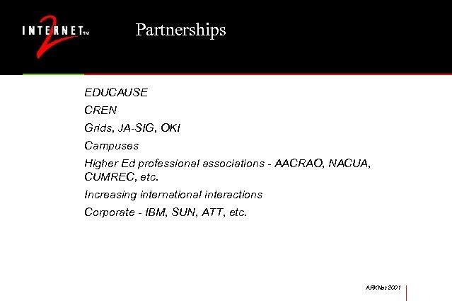 Partnerships EDUCAUSE CREN Grids, JA-SIG, OKI Campuses Higher Ed professional associations - AACRAO, NACUA,