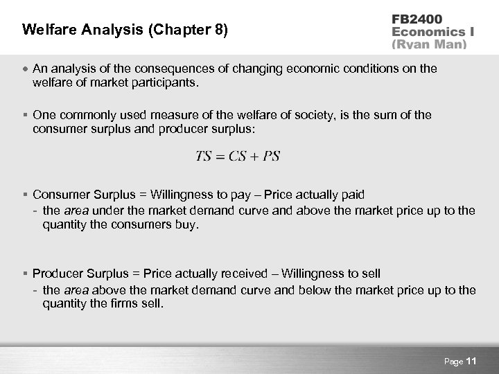 Welfare Analysis (Chapter 8) An analysis of the consequences of changing economic conditions on