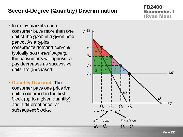 Second-Degree (Quantity) Discrimination § In many markets each consumer buys more than one unit