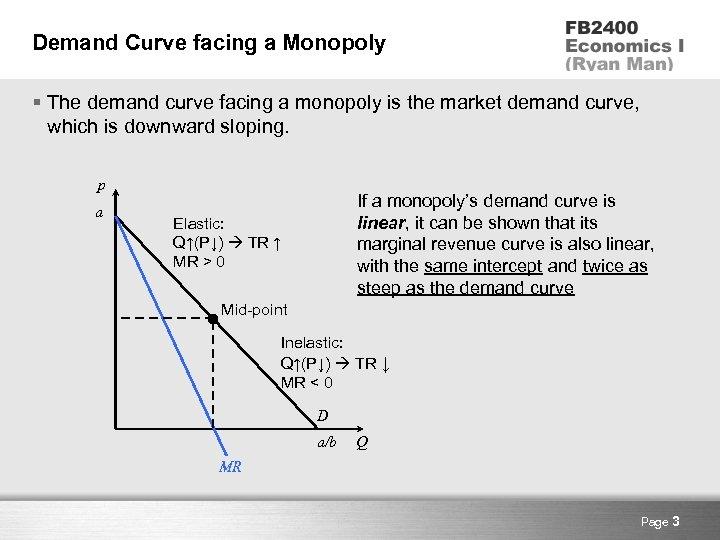 Demand Curve facing a Monopoly § The demand curve facing a monopoly is the