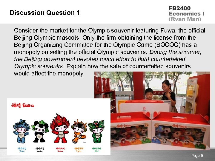 Discussion Question 1 Consider the market for the Olympic souvenir featuring Fuwa, the official